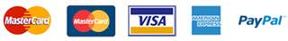 Payment logo's - Mastercard, Paypall, Visa, American Express
