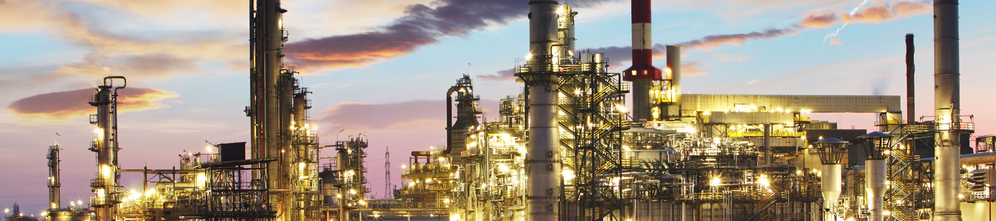 Oil and gas industry – refinery at twilight – factory