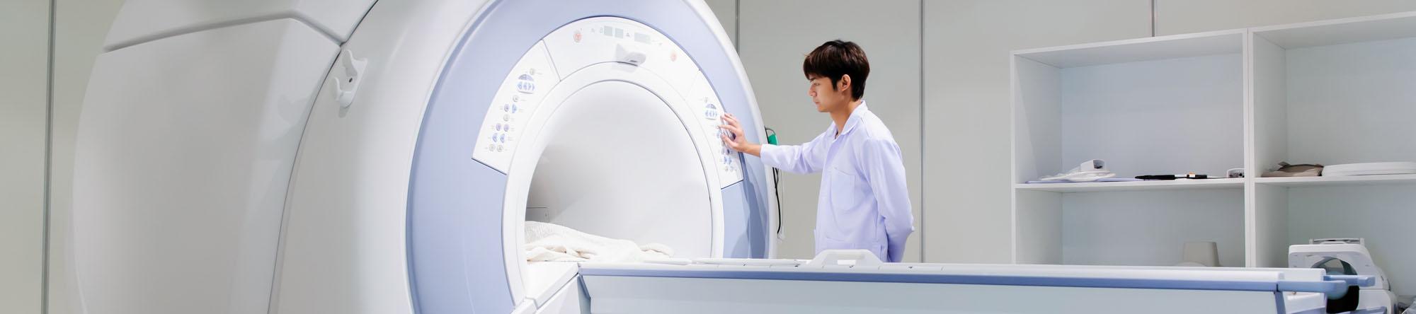 veterinarian doctor working in MRI scanner room